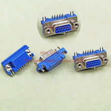 (10pcs/lot) DB15 DR15 3Rows Blue Parallel Port  15 Pin D Sub Female 15 Way PCB 90 Degree Connector DB15 Socket Plug VGA Adapter