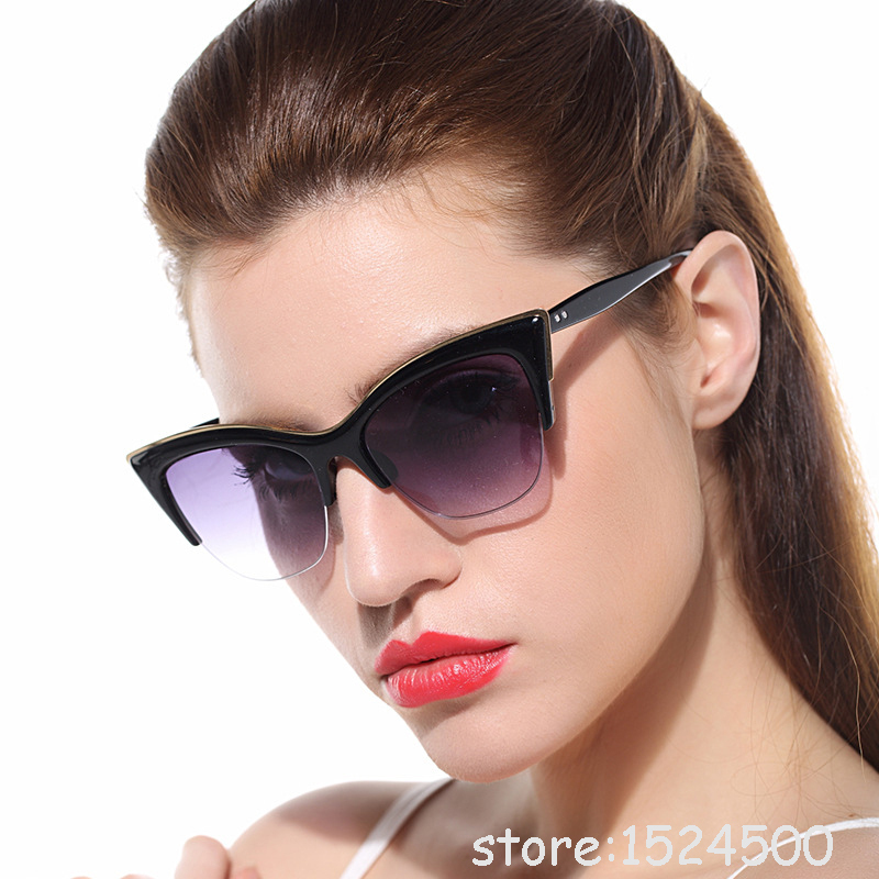 Cat Eye Sunglasses For Women Eyewear Outdoor Summer Style Shade Fashion Half Frame Gafas Onassis Glasses ocular<br><br>Aliexpress