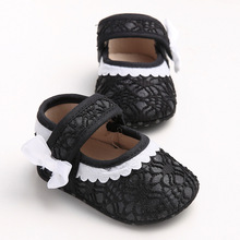 New 2016 Fall Baby Girls Shoes Black With White Lace Bordered Flat Toddler Moccasin Baby Schoentjes Infant Walker Princess Shoes