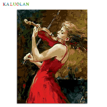 Frameless painting by numbers hand oil painting paint wall for living room modern abstract oil painting Girl playing a violin(China)