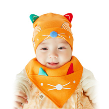 Cartoon Baby Hat Solid Cotton Newborn Baby Hat With Ears Cat Baby Scarft Spring Autumn Girl Boy Hat Set Baby Girls Clothing