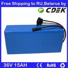 Free shipping to RU / Belarus 36V 500W Li-ion battery 36V 15AH Electric bike Battery with PVC case 15A BMS 42V 2A charger