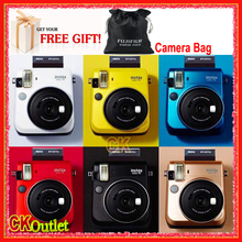 Fujifilm Instax Mini 70 + Free Camera Bag for Polaroid Instant Photo Camera Instax Mini Film in Gold Black White Yellow Red Blue(China)