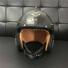 2015 New Retro Rivet Motorcycle Helmet Scooter Open Face Leather Helmet with Visor Goggles Black For Harley Rider