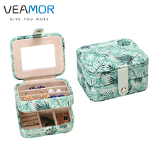 VEAMOR Jewelry Box Two-Layer PU Fashion Print Jewelry Box Organizer Display Stroage Case for Ring Necklace Earrings VB1553(China)