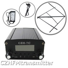CZH CZE-7C7W FM stereo PLL broadcast transmitter hot sale 76-108MHZ+Circularly polarized FM antenna kit(China)