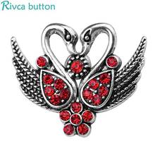 Rivca Snap Button Jewelry Newest DIY 18mm swan owl life tree Snap Button Fit Charm leather alloy fashion Bracelet jewelery(China)