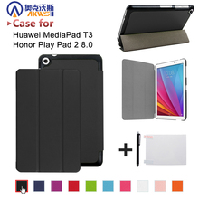 PU leather folio stand cover case for Huawei MediaPad T3 8.0 KOB-L09 KOB-W09 for 8'' Tablet PC for Honor Play Pad 2 8.0(China)