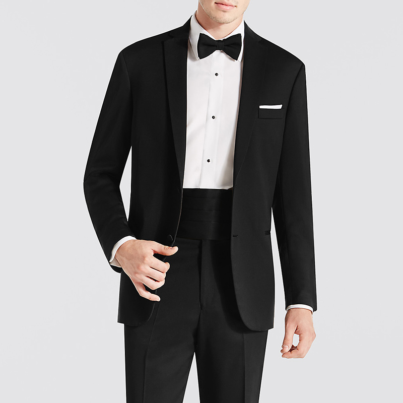 2018 Black Business Men Suits for Groom Wear Notched Lapel Two Button Two Piece Wedding Groom Tuxedos (Jacket + Pants)