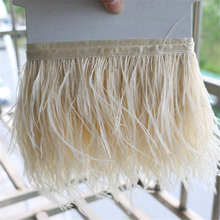 Ostrich feather trims 1 Yards/lot 10-15cm height Ostrich feather fringes beige