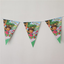 1 set banners including 10 small flags dora the explorer  theme paper flags baby birthday party decoration kid favor supplies