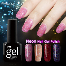bling Glitter Neon Nail Gel for Full Set Gel Manicure Colorful Lacquer Shiny Color Nail Art need UV Led lamp Gel Nail Polish