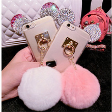 For iPhone 5 5S 6 6S 7 8 Plus For Samsung note 3 4 5S5 S6 S7 edge S8 Crystal Mouse ears Fur Ball Soft Phone Back Cover Rope DIY(China)