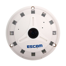 ESCAM QP130 360 degrees Fisheye Panoramic IP Camera 1.3MP HD Real Time with TF card slot Perfect Software for PC and Cellphone(China)