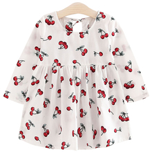 Long Sleeve Cotton Girl Dresses Printed Cherry Princess Little Girls Dresses Cute Kids Clothes Robe Fille Enfant 161223