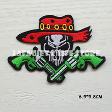 3pc/lot Gun Skull head LOGO Patches for Clothing Jacket Bag punk Motorcycle HAT Applique Garment Iron Sew on patch Vest sticker