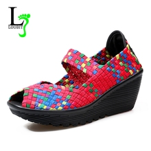 Summer Women Sandals Platform Shoes Women Handmade Woven Shoes Wedge Women Multi Colors Ladies Sandals 2017 New(China)