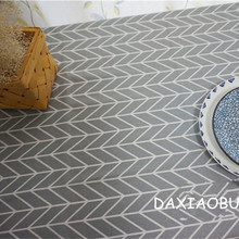 DAXIAOBU Cotton Linen Cloth Print Geometry Grey Bottom Customed Tablecloth Cover 1214C