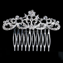 Women Crystal Floral Hair Jewelry Wedding Tiara Silver Color Bridal Flower Hair Combs Wedding Hair Accessories Slide Clips