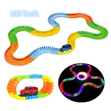 Glowing Race Car Twister Track DIY LED Flashing Light Tracking Rail Glow in the Dark Flexible Railway for Mini Cars Kids(China)