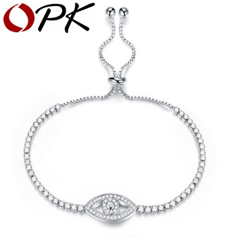OPK Cubic Zirconia Tennis Bracelet For Women Fatima Hand With Evil Eye Design Length Adjustable Box Chain Jewelry Gift DS968