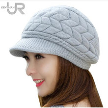 New Women Winter Hat Warm Beanies Fleece Inside Knitted Hats For Woman Rabbit Fur Cap Autumn And Winter Ladies Fashion Hat(China)