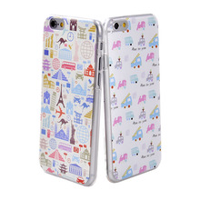 Cute Cartoon Car Building Love Pattern Case For iPhone 6 6S Transparent Clear 4.7'' PC Hard Back Phone Cover Coque Fundas Capa