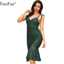 Buy ForeFair Women Backless V-neck Sexy Lace Dress Plus Size Empire Elegant Ruffles Bodycon Dress for $15.72 in AliExpress store