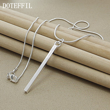 Wholesale Luxury Brand Necklace 925 Sterling Silver Necklace Jewelry Square/ Round Column Couples Necklace(China)
