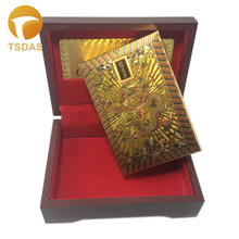24K Gold Foil Playing Cards With Dragon Design, Golden Plated Poker Game Plastic Playing Cards With Red Wooden Box