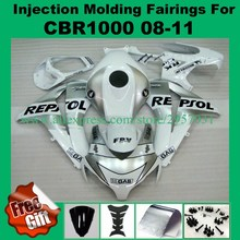 Free screws+gifts For Honda CBR 1000RR 2008 2009 2010 2011 CBR 1000 RR ABS Plastic motorcycle Fairing Kit Silver White REPSOL