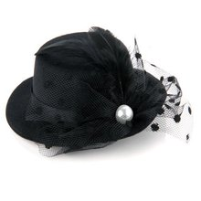 Mini Hat Mini Hat Hair Clip with Black Feather Hair Clips