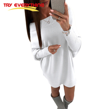 Buy Try Everything Slash Neck Knitted Sweater Dress Women Winter Chic White Batwing Sleeve Sexy Dress Club Wear Female Clothing for $18.70 in AliExpress store