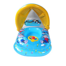 Swimming Baby Infant Child Kids Seat Swim Ring Safety Steering Wheel Floats Circle Bathing Pool Inflatable Shade Sun Block