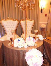 Rose Gold Table Cloth, 108inch Round Sequin Fabric table Overlay for Dinning Room &a(China)