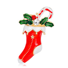NADEEM New Arrival Gold Color Christmas Boot Costume Brooch Pin Cheap Red Enamel Christmas Brooches Jewelrt Lover Gift(China)