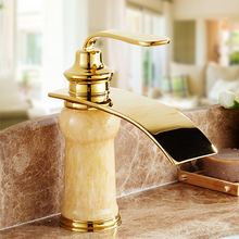 Deck Mounted Bathroom Lavatory Basin Sink Waterfall Mixer Tap Hot Cold Water Natural Stone Faucet Gold Brass Valve Accessories