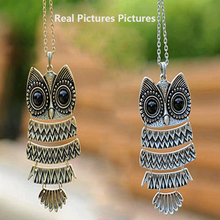 Tomtosh 2017 Fashion Necklace Bronze Cute Owl Necklace With Big Eye Pendant Vintage Necklace