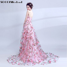SOCCI Weekend Pink Sweetheart Evening Dress 2017 Formal Wedding Party Dresses Handmade Three-dimensional Flowers Bride Prom Gown