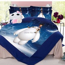 New design free shipping via UPS!3pcs/4pcs Children Cartoon Lovely Big Hero Bedding Set Twin/Full/Queen Size bed in a bag