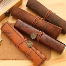 2017 Plush Vintage Faux Leather Roll Pencil Case Doll Fabric Large Bag Make Up Holder For Kids Student Stationery Boys Girl Gift