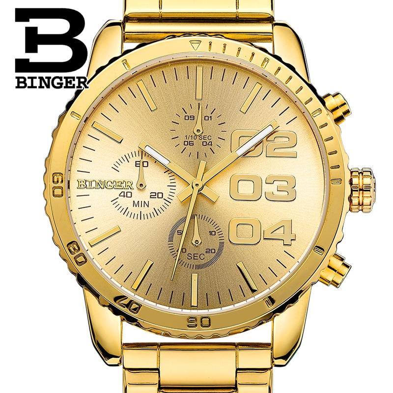 Switzerland BINGER watches men luxury brand Quartz waterproof Chronograph Stop Watch leather strap Wristwatches B9007-5<br>