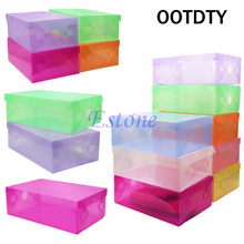 OOTDTY Clear Transparent Drawer Case Plastic Stackable Foldable Shoe Boxes Storage Organizer Box Holder Container Organizer