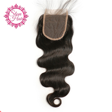 Slove Hair Brazilian Body Wave Remy Human Hair Lace Closure Free Part With Baby Hair Natural Black Color For Women Bleached Knot