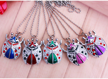 Charming cute beautiful mini ladybug key chain fashion jewelry Pocket Watch necklace pocket watch Drop shipping(China)