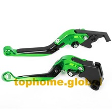 Green&Black Motorbike Accessories CNC Folding&Extending Brake Clutch Levers For Kawasaki Z750 (not Z750S model) 2007-2012 2008