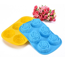 6 rose flower silicone cake mold Ice cream Chocolate molds soap silicone molds 3D cupcake bakeware baking dish cake pan D598