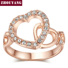 Top Quality ZYR154 ZYR155 Gold Romantic Dual Hearts Crystal Ring Rose Gold Color Austrian Crystals Full Sizes Wholesale