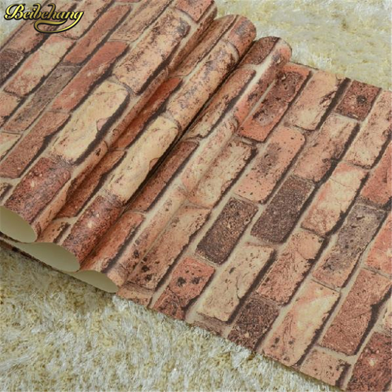 beibehang home decor brick stone paperwall natural rustic vintage 3D effect designer vinyl wallpaper for living room background<br>