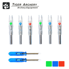 6PCS Lighted Nocks Fits ID 6.2-6.3mm Arrow ShaftShooting Automatically Led Nocks For Compound Recurve Bow Hunting Nock